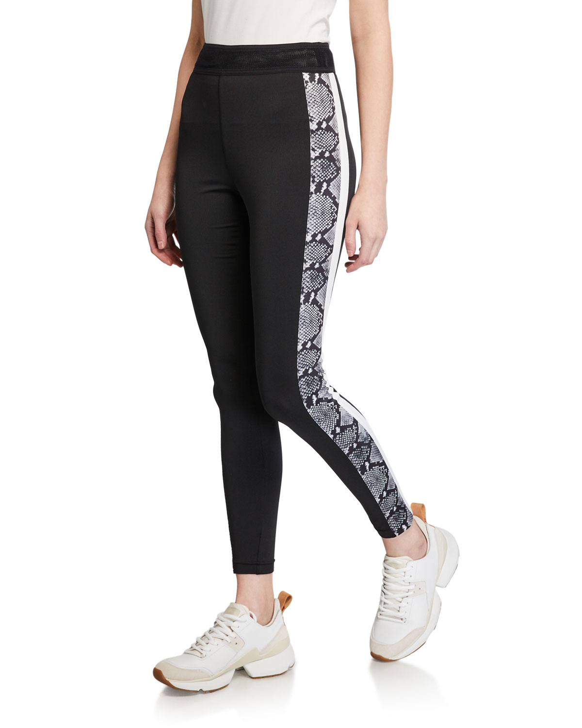 Snake-Print Side-Stripe Leggings