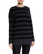 Eileen Fisher Plus Size Striped Crewneck Merino Wool