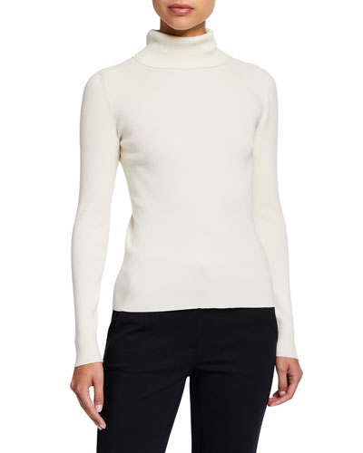 Ribbed Tech Stretch Turtleneck Sweater