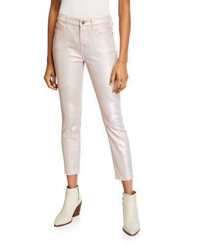 Metallic Coated Ankle Skinny Jeans