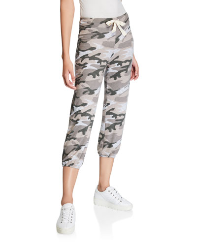 Basic Camo-Print Cropped Sweatpants