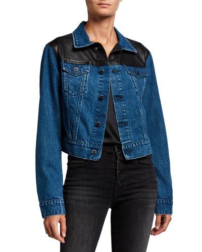 Karly Cropped Denim Jacket w/ Leather