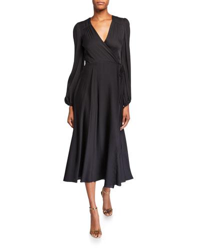Gina Long-Sleeve Midi Wrap Dress