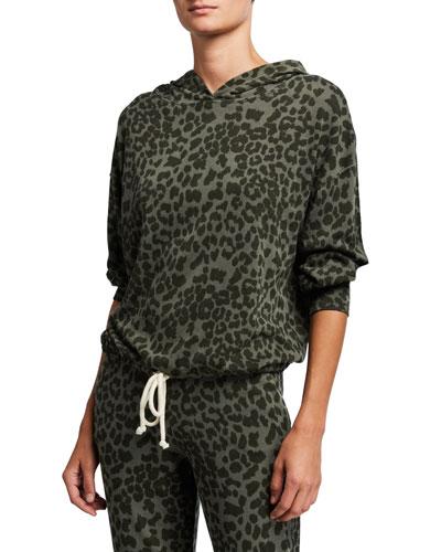 Leopard-Print Drawstring Hoodie