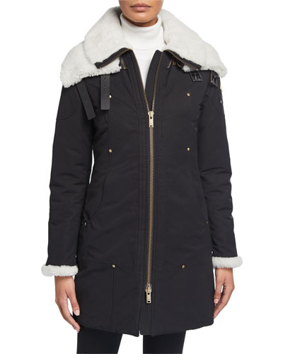 Tompk Shearling-Collar Parka w/ Detachable Layer