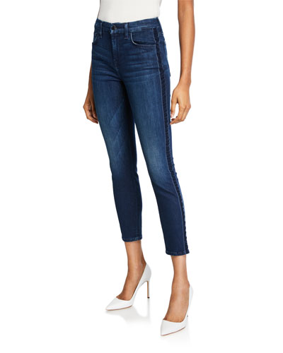 High-Rise Ankle Skinny Jeans with Velvet Side Stripes