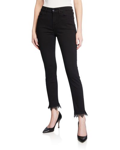 High-Rise Ankle Skinny Jeans with Lace Hem