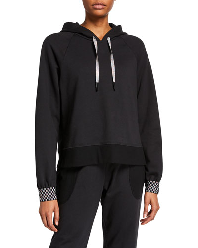 Checkerboard Cuff Raglan-Sleeve Hoodie Sweatshirt