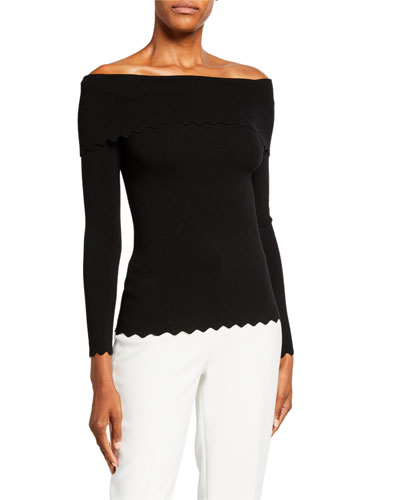Foldover Off-the-Shoulder Long-Sleeve Scallop Top