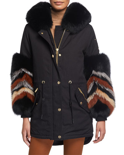 Coderre Zigzag Fox Fur-Cuff Coat w/ Rabbit Fur Lining