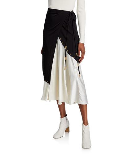 Mixed Material Colorblock Midi Wrap Skirt