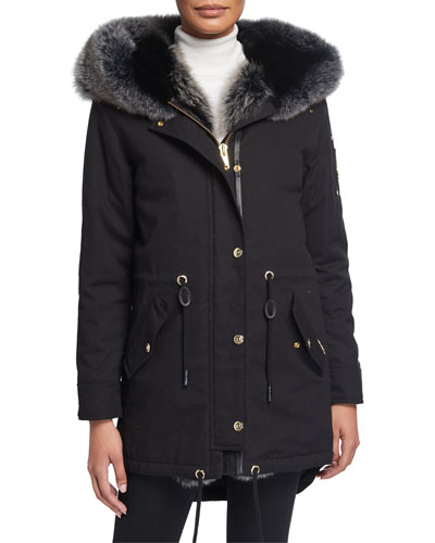 Steller Fox Fur-Trim Canvas Parka w/ Rabbit Fur Hood