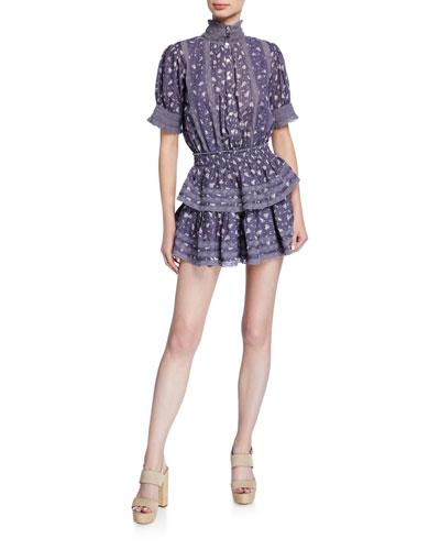 Alfie Floral-Striped Mini Dress