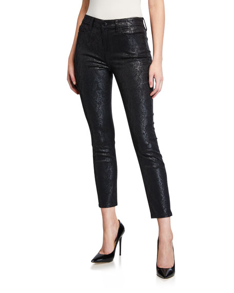Jen7 by 7 for All Mankind Coated Printed Ankle Skinny Jeans