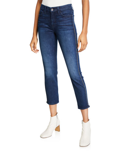 Ankle Skinny Jeans with Metallic Piping