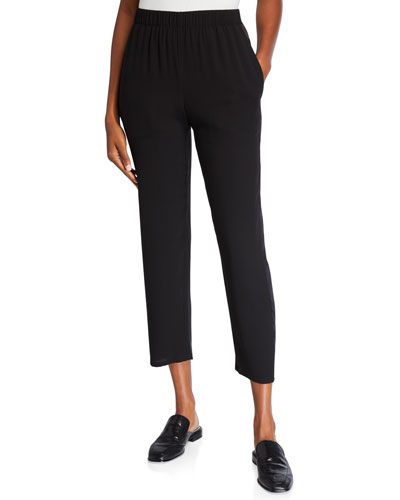 Petite Silk Crepe Tapered Ankle Pants w/ Satin Side Stripes