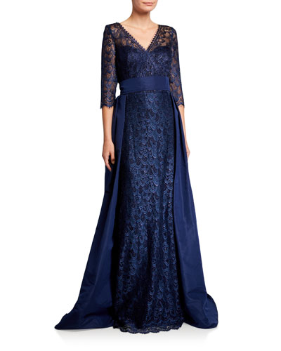 V-Neck 3/4-Sleeve Lace Gown with Silk Faille Overlay Skirt