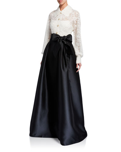 Shirt Collar Lace Top Gown w/ Jewel Buttons & Silk Pique Skirt