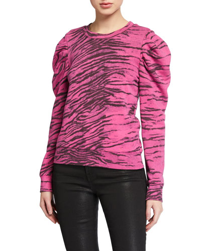 Tiger-Print Puff-Sleeve Sweatshirt