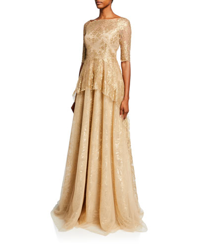 Square-Neck Elbow-Sleeve Metallic Chantilly Lace Peplum Gown