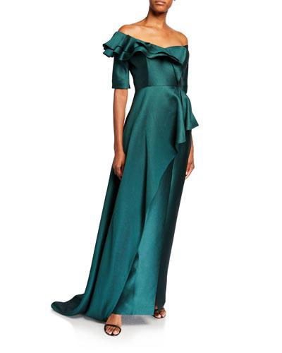 Off-the-Shoulder Elbow-Sleeve Silk Pique Asymmetric Peplum Gown