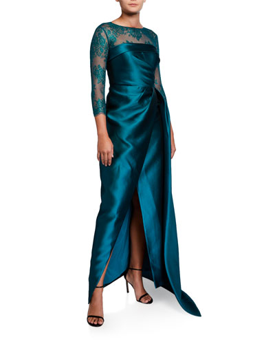 3/4-Sleeve Satin Wrap Gown w/ Lace Illusion