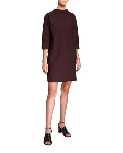 Plus Size Funnel-Neck 3/4-Sleeve Washable Crepe Dress