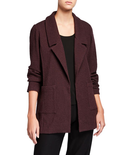 Petite Pucker Notch Collar Open-Front Jacket