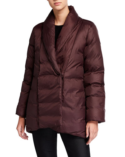 Petite Recycled Nylon High-Collar Puffer Coat