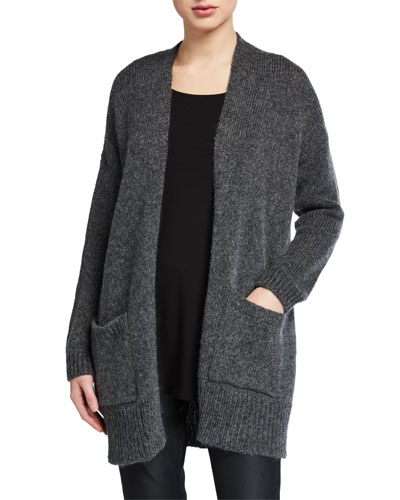 Plus Size Air Wool/Mohair Shawl-Collar Cardigan