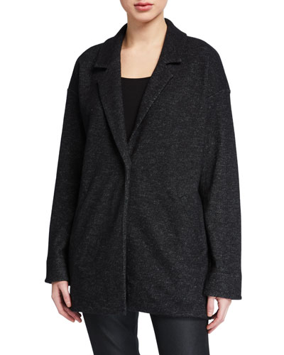 Petite Wool Notch-Collar Long Jacket