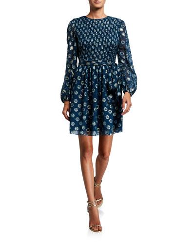 Walker Metallic Clip Dot Blouson-Sleeve A-Line Dress