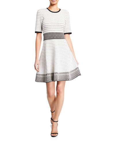 Mesa Half-Sleeve Fit-and-Flare Dress