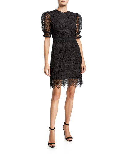 Lucy Puff-Sleeve Lace Dress