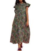 Cynthia Rowley Nairobi Printed Flutter-Sleeve Kaftan Dress