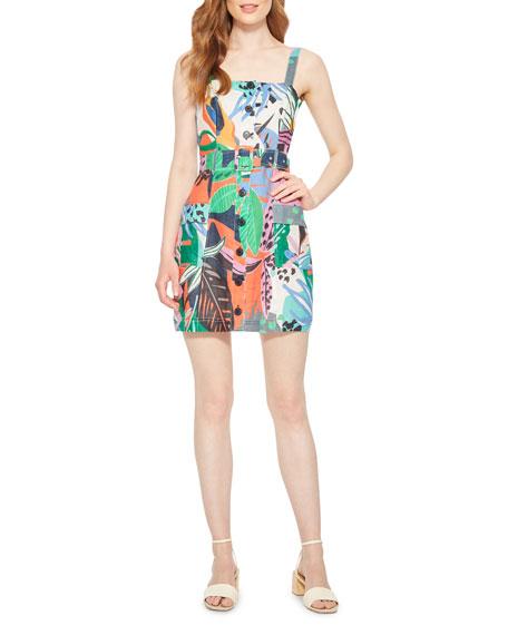 Parker Weslyn Tropical-Print Linen Dress