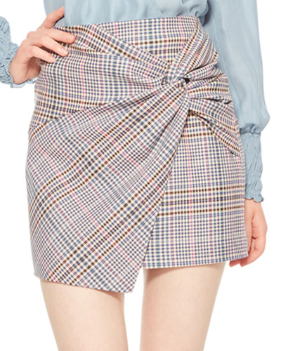 Montaigne Plaid Skirt with Gathered Front
