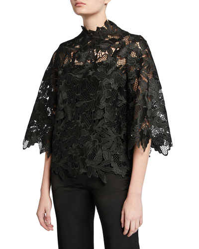Multi Chemical Lace 1/2-Sleeve Blouse