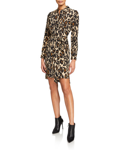Prita Leopard Long-Sleeve Wrap Dress