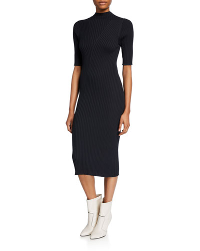 Bryella Ribbed Short-Sleeve Midi Dress