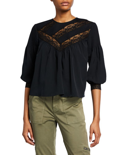 Margette Yoked Button-Back Blouse w/ Lace Insets