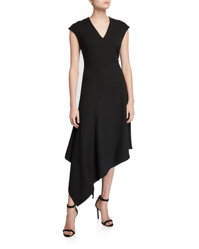 V-Neck Cap-Sleeve Asymmetric Heavy Crepe Dress