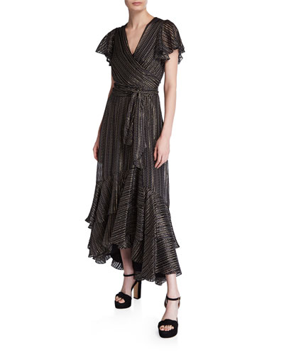 Donnie Silk Metallic Faux-Wrap Dress