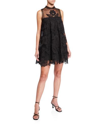Tie Neck Sleeveless Lace Applique Mini Dress w/ Sheer Yoke