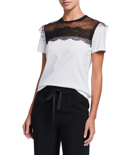 Short-Sleeve Cotton Tee w/ Lace Inset Top