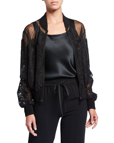 REDValentino Lace Applique Bomber Jacket