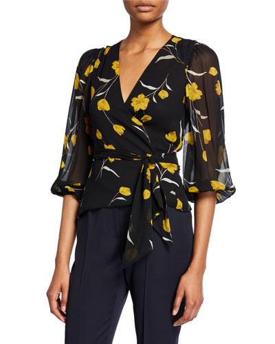Laraine Floral Silk Wrap Top