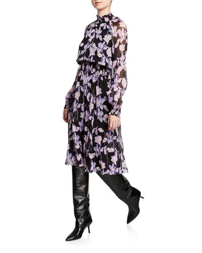 Athena Floral Silk Chiffon Mock-Neck Dress