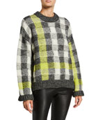 McQ Alexander McQueen Fluro Plaid Crewneck Pullover Sweater