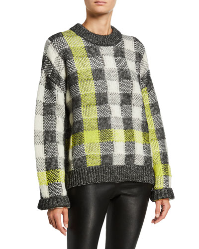 Fluro Plaid Crewneck Pullover Sweater